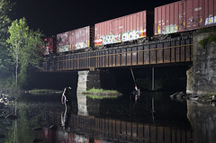 Night Swimming (a409will) Tags: westfield river berkshires ropeswing swimming night boxcar csx reflection