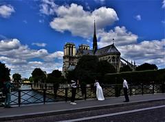 taking photo (sabinakurt_photo) Tags: people sky architecture cathedrale notredamedeparis paris france europe travelphoto sabinakurtphotography nikon seineriver pontdelarcheveche