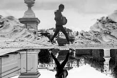 Puddle Walk (CoolMcFlash) Tags: street streetphotography candid reflection puddle water vienna bnw blackandwhite blackwhite person fujifilm x30 strase spiegelung pfütze wasser wien sw schwarzweis fotografie photography