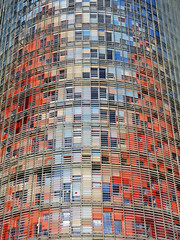 Torre Glòries 2 (RobertLx) Tags: architecture building tower skyscraper colour pattern symmetry rainbow modern city contemporary glòries europe spain barcelona catalunya geometric repetition reflection españa torreglòries abstract