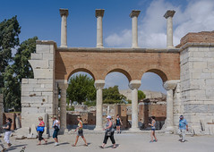 The arcade (Adaptabilly) Tags: stone arch ephesus people brick turkey clouds man greek woman ancient sky architecture efes column travel ephesos lumixg1 asia