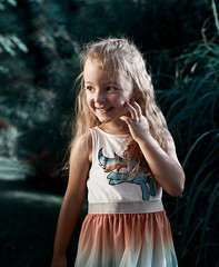 Enless Summer. (icarium.imagery) Tags: canoneos5dmarkiv sigma50mmf14dghsmart child family portrait childportrait candid green infrablue warmlook sunset golden longhair smile smiling one girl lovely unicorn rainbow vibrant colourful prophotoreflectorgold