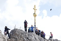 he made it to the summit of Zugspitze (d0gwalker) Tags: zugspitze summit cross goldcross climber rockclimber peak success mountain