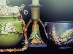 Pottery (clarkcg photography) Tags: memorabilia flickrfriday ceramic roseville pottery greenware blueware flowers