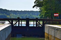 Sluice gate (Pictures in my head) Tags: poland augustow home town visit relax holiday with friend enjoy free time boat trip discover nature lover sluice gate lake water blue sky green forest trees sign photography view landscape control