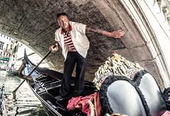 Tight Squeeze (Andy J Newman) Tags: bridge canals color gondolier italy om street venezia venice candid colorefex colour man olympus portrait