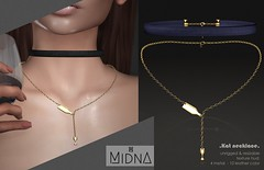 Midna - Kat Necklace (Kimi - MIDNA) Tags: secondlife sl blush blushevent necklace choker midna jewel jewelry leather wine fashion
