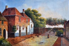 Il Villaggio, Art Painting / Oil Painting For Sale - Arteet™ (arteetgallery) Tags: arteet oil paintings canvas art artwork fine arts house architecture home old tourism town estate europe history summer residential door tree trees landscape style ancient facade religion famous traditional real historical tourist property brick destination street historic residence village medieval structure cities buildings brown orange paint