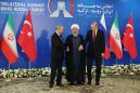 Presidents of Russia, Turkey and Iran Meet to Plot Future of Syria Ahead of Battle for Last Rebel Stronghold (EPaper247) Tags: news information technology defence politics world presidents iran russia turkey meet tehran 07 sep 2018 iranian president hassan rouhani c turkish recep tayyip erdogan r vladimir putin pose for a picture before their meeting september summit set decide future idlib province amid fears humanitarian disaster syrias last major rebel bastion cleric islam islamic moslem muslim russian religion politician male personality 74306295