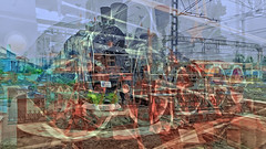BaikalReise 75f (wos---art) Tags: bildschichtung russland transsibirische eisenbahn historisch ausgemustert stillgelegt schrottplatz ausgestellt präsentiert maschinengeschichte