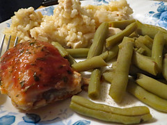 Chicken And Rice Dinner. (dccradio) Tags: lumberton nc northcarolina robesoncounty indoor indoors inside food eat supper dinner lunch meal chicken rice chickenandrice greenbeans beans veggies vegetables meat plate corelle canon powershot elph 520hs