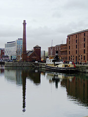 Canning Dock, Liverpool, England (teresue) Tags: 2017 uk unitedkingdom greatbritain england merseyside liverpool thepumphouse canningdock reflection royalalbertdock boats