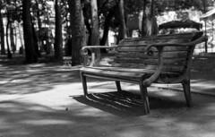 Bench (odeleapple) Tags: pentax sp spotmatic supertakumar 55mm kodaktmax100 film monochrome analog bw bench park