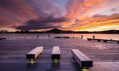 Three seats (Rod Burgess) Tags: parkes australiancapitalterritory australia au canberra lakeburleygriffin sunrise dawn mtainslie clouds seat