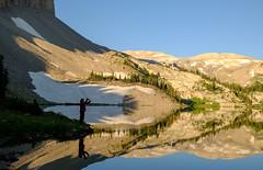 Tim tries his luck on Brewster Lake (jtr27) Tags: dscf0873xl jtr27 fuji fujifilm xt20 xtrans xf 1855mm f284 rlmois lm ois kitlens kitzoom brewster lake grosventre wilderness bridger teton nationalforest wyoming wy rockies rockymountains hike hiking backpacking morning fishing flyfishing fisherman reflection