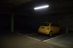 Dark side of the park (Jean-Luc Léopoldi) Tags: sombre garage obscurité darkness car voiture fiat jaune yellow tube light éclairage alone one