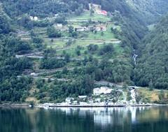 Eagles Road - Geiranger Fjord (White Pass1) Tags: fjord norway trees village eaglesroad geirangerfjord switchbackroad waterfall zigzaggingroad mvavores