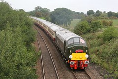 1Z40 Saphos Tours Crewe to Carlisle 'Cumbrian Mountain Whistler' climbs the 1 in 100 bank at Hoghton Lancashire on 27th August 2018 hauled by English Electric Type 4 No. D213 'Andania'  © (steamdriver12) Tags: lancashire hoghton diesel electric 1z40 saphos tours cumbrian mountain whistler climbs 1 100 bank 27th august 2018 heritage traction english type 4 no d213 andania