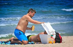 Couple on the beach (LarryJay99 ) Tags: 2018 beach streets people ftlauderdale ocean atlanticocean backpackers shoreline smallwater man men guy guys dude male studly manly dudes handsome shirtless peekingpits prifile belly barfuss tatts tattoos couple gaymen blue