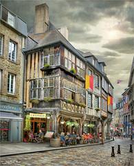 The crepe shop (Jean-Michel Priaux) Tags: dinan bretagne france village medieval patrimony priaux hdr way path paint painting home house shop restaurant crêperie