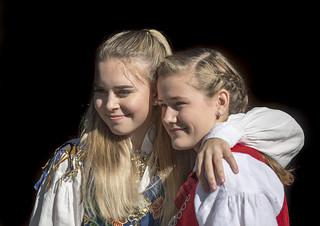Vilde & friend in Norwegian Bunad