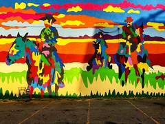 Ride off into the Sunset (Pennan_Brae) Tags: painting paint colours colourful vancouverbc vancity vancouver muralfestival muralartist muralart mural cowboy cowboys sunset streetartist streetart