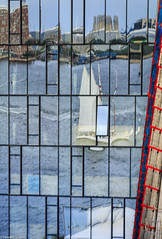 Constructed Reflection (allentimothy1947) Tags: boston ma building construction glass modern new reflections sail ship windows east fan pier blue boats harbor city grid red ships sky water white