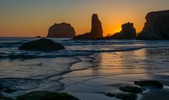 Bandon Beach Sunset (Nancy King Photography) Tags: oregoncoast oregon sunset ocean pacificcoast seastacks bandonbeach pacific rocks