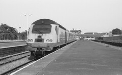 The Inspection Shrinker (DH73.) Tags: network rail new measurement train skegness lincolnshire poacher line hst doctor yellow inspection 43062 43014 railway observer john armitt minolta dynax 7000i 3570mm f4 macro zoom ilford fp4 plus 1d11 11min 68°f 11