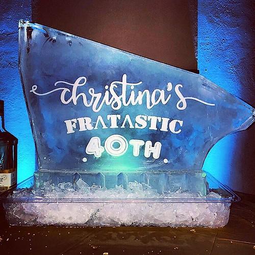 Happy #birthday Christina! #40th #fratastic #icesculpture #luge #fullspectrumice #thinkoutsidetheblocks #brrriliant - Full Spectrum Ice Sculpture