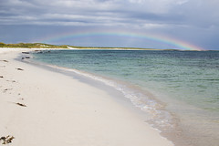 Rainbow over the beach (Peter Starling) Tags: 2018 orkney peterstarling scotland starling island islands isle isles summer sand sun rain bow cloud sky water sea ocean wave waves white shell scottish dunes dune