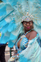 DSC_8236 Notting Hill Caribbean Carnival London Exotic Colourful Blue Costume with Ostrich Feather and Pearl Headdress Girls Dancing Showgirl Performers Aug 27 2018 Stunning Ladies Big Beautiful Woman BBW (photographer695) Tags: notting hill caribbean carnival london exotic colourful costume girls dancing showgirl performers aug 27 2018 stunning ladies blue with ostrich feather pearl headdress big beautiful woman bbw