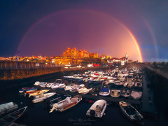 After the storm (Mimadeo) Tags: getxo basquecountry spain paisvasco euskadi arriluze marina port boats storm stormy clouds rainbow arriluce sunset