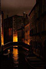 Living in a Painting (Marta Marcato) Tags: venice venezia red orange light night water reflection darkness evening outdoor buildings italy italia bridge canal sky dark shadows nikond7200
