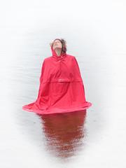 Rain (Elenovela) Tags: regen rain regencape raincape cape polkadots girl woman surrealismus surrealism see lake wasser water porträt portrait redridinghood rotkäppchen