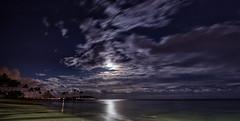 Moonlit Kahala (CraDorPhoto) Tags: canon6d beach coast landscape night clouds moon moonlit water ocean pacific nature outdoors kahala honolulu