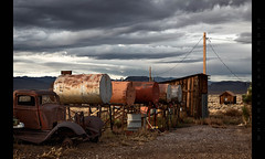 In a Row (Whitney Lake) Tags: twilight junk deserted desert decay rust abandoned