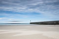 A ship passes by! (karindebruin) Tags: france frankrijk beach sand sea strand zand zee pier ferry schip le langesluitertijden longexposure leefilters nd06hardgrad littlestopper nordpasdecalais hautefrance opaalkust côteopale calais