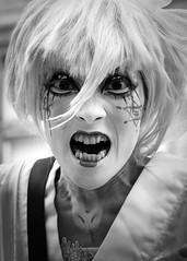 Street portrait from the 2018 Edinburgh Festival Fringe - The Gate (Gordon.A) Tags: scotland edinburgh fringe edinburghfestival edinburghfestivalfringe edfringe edfest august 2018 embra auldreekie dùnèideann festival festiwal festivaali festivalen wyl féile festspiele japanese theatre company folklore physical dance dancer artist arts artsfestival performingarts performingartsfestival street event eventphotography lady woman people thegate kasojogi actor performer performers entertainer entertainers makeup atmosphere creative culture urban city outdoor outdoors outside mono monochrome monochromatic monotone blackandwhite bnw bw portrait streetportrait pose posed digital canon eos 750d