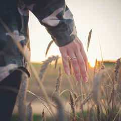 Bye-bye day (multifaceted_m) Tags: walk alone field girl hand light sunset