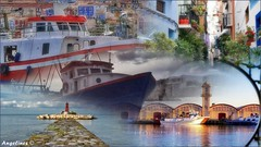 ESCENAS MEDITERRÁNEAS (Angelines3) Tags: collage colores cielo mar barcos bahia calles faro gandia villajoyosa puerto edificios