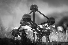s = k log w (Lux Obscura) Tags: atomium daisies doubleexposure brussels bruxelles iron molecule science architecture bw monochrome