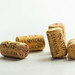 A few wine corks on the white background
