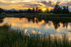 Pronghorn Pond Sunset (TierraCosmos) Tags: pronghornresort bend oregon centraloregon sunset pond mountains cascades landscape reflection