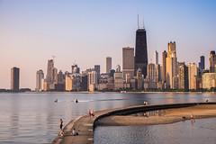 Summer Morning in Chicago (romanboed) Tags: leica m 240 summilux 50 usa illinois summer chicago city downtown morning sunrise skyscrapers skyline lake michigan john hancock