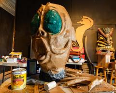 2018 Buskers in the Burg, Workshop (Dennis Valente) Tags: 2018 buskersintheburg workshop washington art ellensburg giantpuppet papermache mermadon workinprogress 5dsr usa mask shellac pnw puppetry puppet