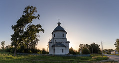 Church at sunset. (Oleg.A) Tags: old building cathedral penzaregion russia church nature dome brick city outdoor rural materials viewpoint exterior bell countryside summer sunset orthodox tree evening tower twilight town architecture cross landscape village design style catedral landscapes outdoors