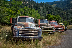 All In A Row (BP3811) Tags: 2018 antique august grangeville old pickup rusty trucks abandoned dented junk idaho