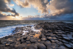 Giants sunshine (Visual Lyrics Photography - Ernie Vater) Tags: ireland giantscauseway sunset clouds landscape volcanic