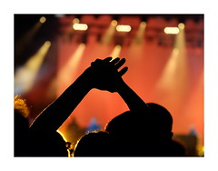 Concert (John (Thank you for >2 million views)) Tags: silhouette hands anonymous lights orange bristoldowns musicfestival durdhamdowns bristol southwestengland prismadecolores